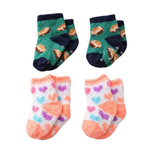 Beauttable Unisex-Baby Boy Girls Cute Animal Soft Cozy Socks Toddler Anti Skid,Infant Grippy Fluffy Fuzzy Crew Socks 4Pairs Slipper (Burger and Heart, 1-3 T) - Socks Beaded Hearts