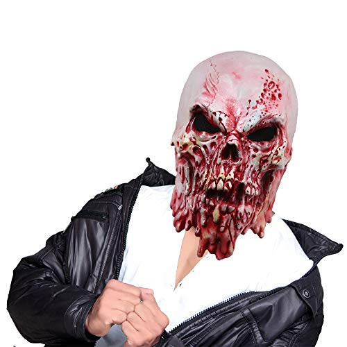 Creepy Melting Face Skull Monster Mask Bloody Zombie Latex Full Head Mask for Halloween Costume Decoration Prop White -
