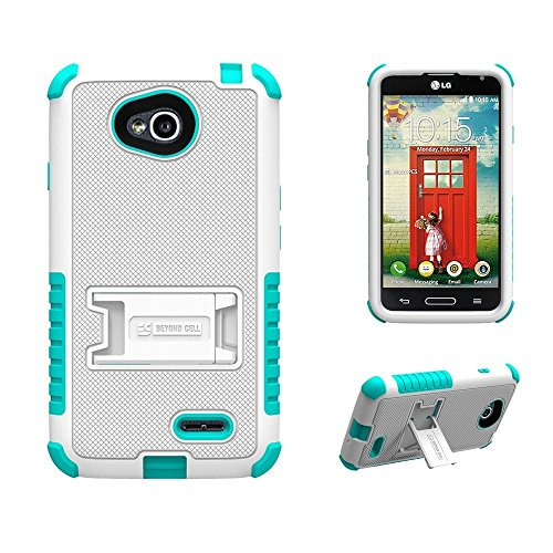 LG Optimus L70/LG D325/LG Realm LS620/LG MS323/LG Ultimate 2 L41C (T-mobile,Metro PCS,Boost Mobile,Cricket)Beyond Cell[Dirtproof] High Impact Armor Hybrid Hard + Soft Rugged Durable Ultra Strong Phone Case with 3 Layer Maximum Protection & built in kickstand - White/Light Blue - FREE (HD) Screen Protector & Retail Packaging (1 Year Warranty) (Lg L70 Optimus Phone Case)