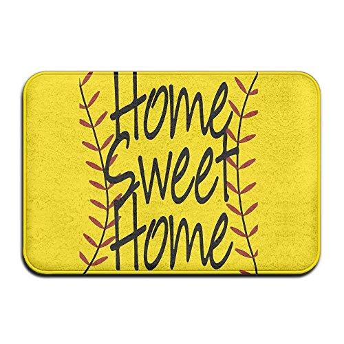 dan ding Soft Non-Slip Home Sweet Home Baseball Softball Bath Mat Coral Fleece Area Rug Door Mat Entrance Rug Floor Mats -