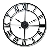 Nclon Retro Wall Clock,Wrought Iron Roman Numbers Large Round Nordic Metal Living Room Cafe Precision Wall Clock a-Black 40cm