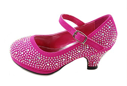 Mid Girl Rhinestone Pretty Sandal Dana Fuchsia Little Dress Shoes Heel 53k Forever IUq1xwgW