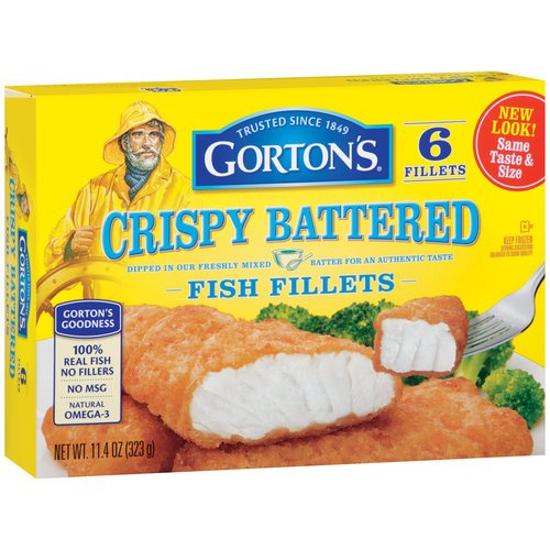 GORTONS SEAFOOD FISH FILLETS CRISPY BATTERED 11.4 OZ PACK OF 2 by GORTONS at The Neighborhood Corner Store