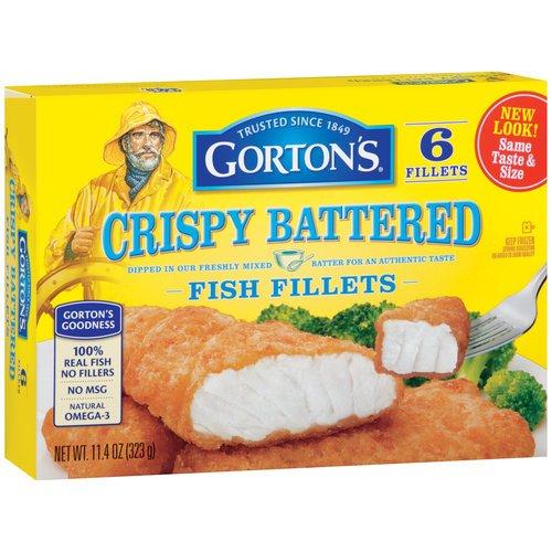 GORTONS SEAFOOD FISH FILLETS CRISPY BATTERED 11.4 OZ PACK OF 2