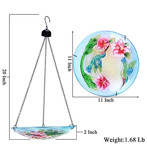 MUMTOP Bird Bath Outdoor Glass 11 Inch Bird Feeder Bowl Hummingbird Flower Garden Decoration