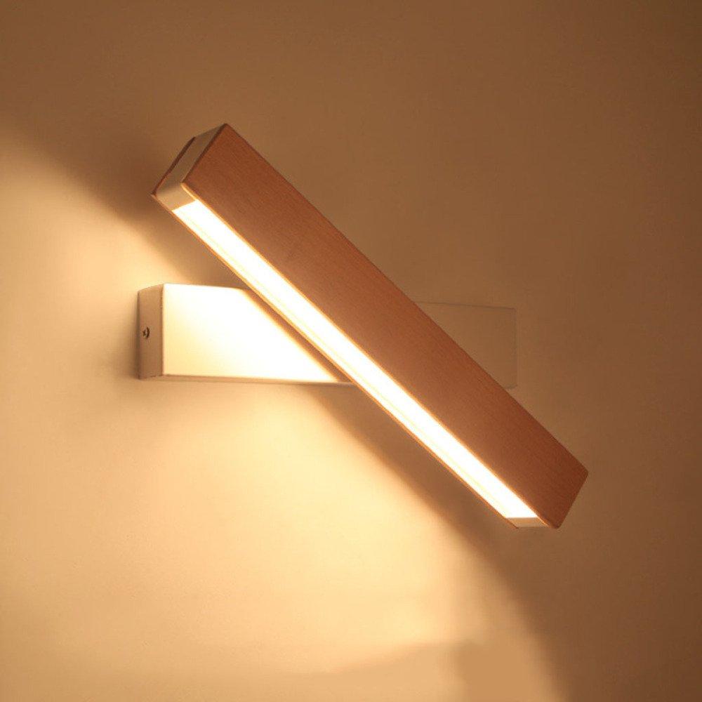 Wandlampen Wandlampe Massivholz Nachttisch Studie Drehbar lösen LED-Licht Kreative LED Warm Spiegelleuchten Wandleuchte Wandbeleuchtung,LogWeißTrumpet