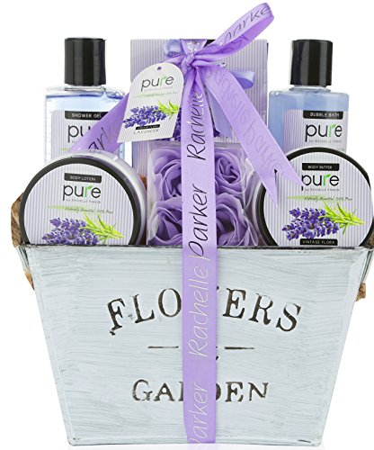 Lavender Essential Oil Aromatherapy Spa Basket. Premium Gift Basket for Women for Birthday, Thank You, Anniversary Gift and to Treat Yourself! Gardener Gift Basket! (Gift And Basket)