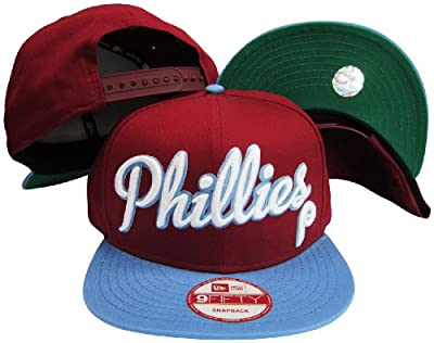 Philadelphia Phillies Red/Blue Two Tone Plastic Snapback Adjustable Plastic Snap Back Hat / Cap