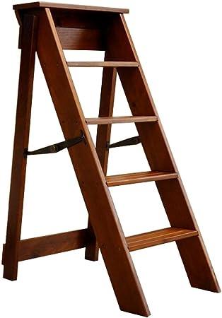 LAXF-taburetes Altos Cocina sillón Taburete de Escalera de Madera Multifuncional Taburete Plegable Muebles Adultos 5 Capas (Color : Light Walnut Color): Amazon.es: Hogar