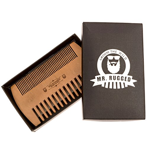 Mr Rugged Pocket Beard Comb – Wide and Fine Teeth Sides – Pear Wood Comb – Wooden Handmade Brushes Beard Oils & Balms To Promote Softer & Thicker Growth – Better for Beards Than Metal or Plastic