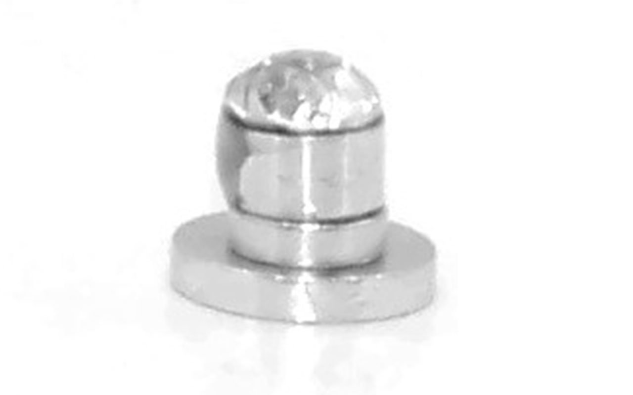 Three Small Round Cut Clear Cz Stainless Steel Magnetic Stud