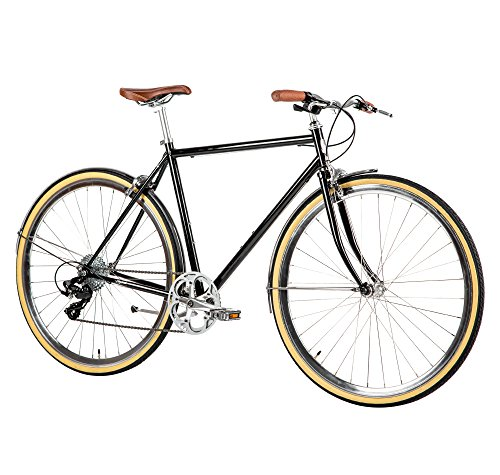 Populo Bikes Legend 8-Speed Classic All City Bike Steel Urban City Commuter Bicycle, Black, 49cm/Small