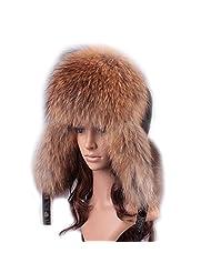 UK.GREIFF Women's Trendy Warm Fox Fur Winter Cap Bomber Hat