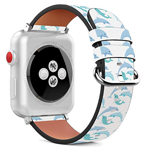 Dolphin Clasps - Compatible with Apple Watch - 38mm Leather Wristband Bracelet with Stainless Steel Clasp and Adapters - Blue Dolphin