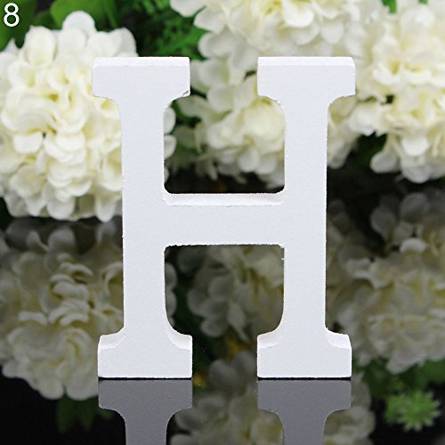 Shuohu White Wooden Letters Alphabet for Wedding Birthday Home Decor(thick)