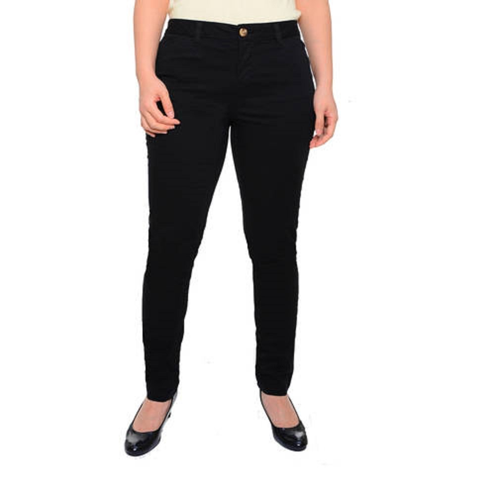 63df0c043ba5a0 Faded Glory Women's Skinny Chino Pants (8, Black Soot) at Amazon Women's  Clothing store:
