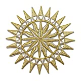ID 1926 Sun Dial Patch Nautical Compass Astrological Design Iron On Applique