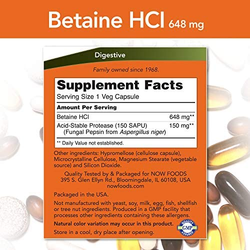 NOW Supplements, Betaine HCl 648 mg, Vegetarian Formula, Digestive Support*, 120 Veg Capsules 3