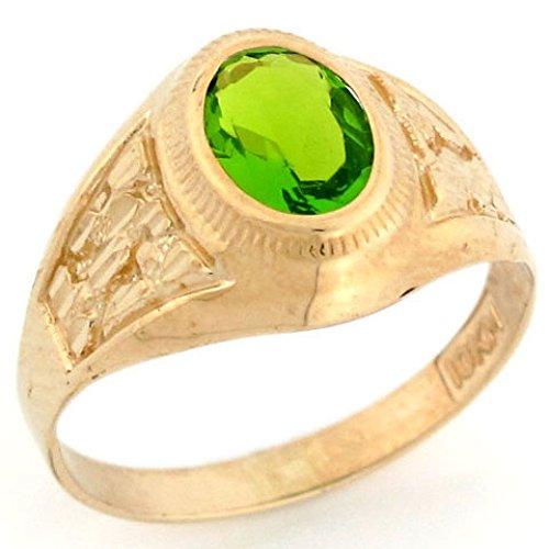 10k Gold Simulated Peridot August Birthstone Diamond Cut Nugget Unisex Ring