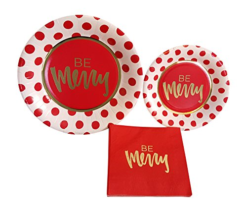 Be Merry Red Gold Christmas Party Supplies Paper