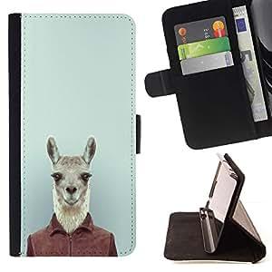 Momo Phone Case / Flip Funda de Cuero Case Cover - Lindo divertido del inconformista Lama Alpaca en el juego;;;;;;;; - Samsung ALPHA G850