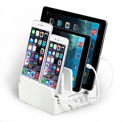 White Leatherette Compact Charging Station with Included Power Supply and Cable Ties by Great Useful Stuff. White Leatherette PLUS with Short Cable Set for Apple Devices (Lightning)