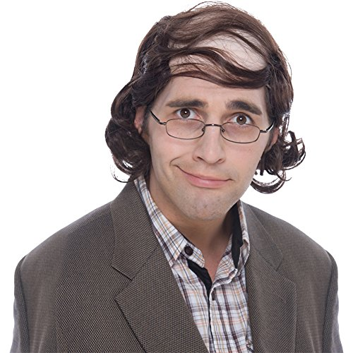 Balding Man Wig (Professor Mullet Wig (Brown) Adult)