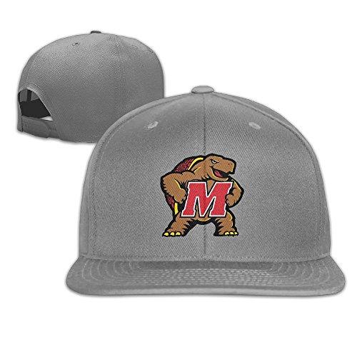 Maryland Terrapins Flat Brim Baseball Cap Hat Snapback Adjustable One Size Unisex Ash