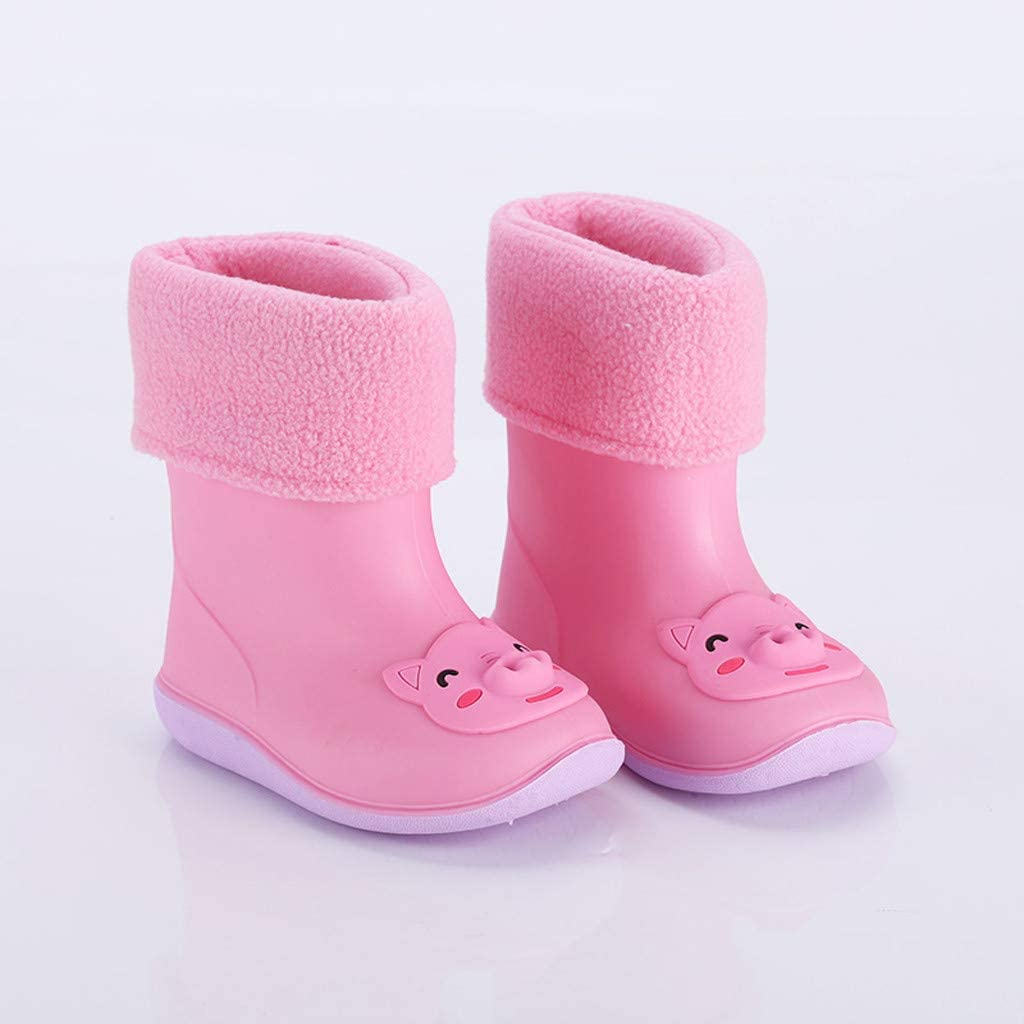 Boys Girls Waterproof Non-Slip Cartoon Rain Boots Fur Lining Winter Warm Water Shoes Toddler//Little Kid//Big Kid Kauneus