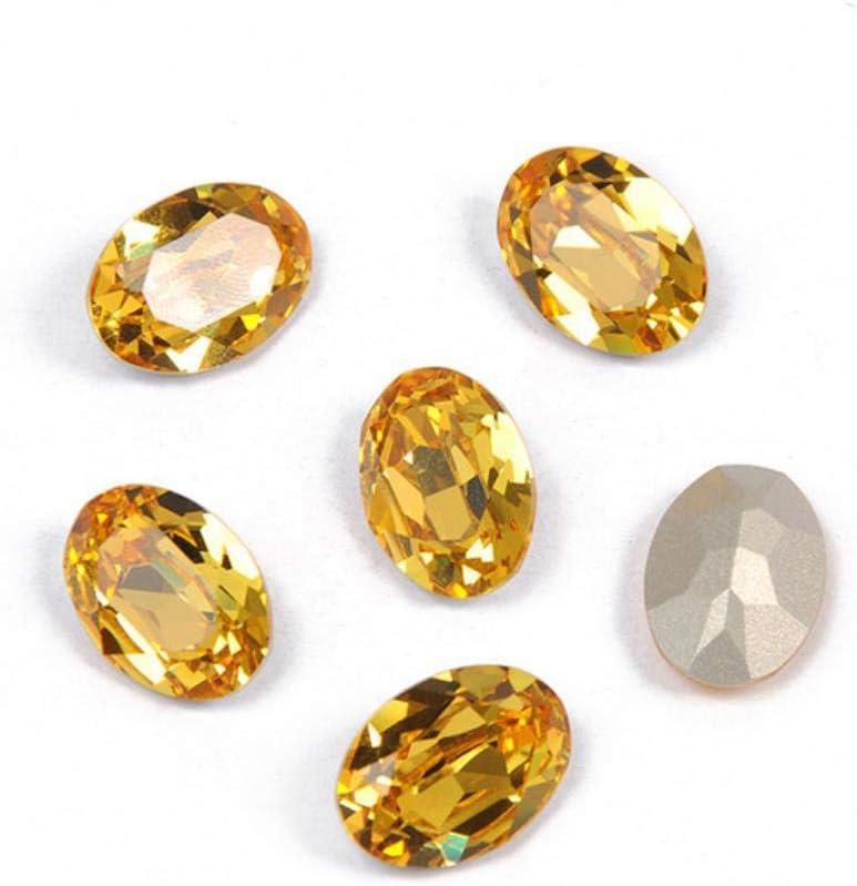 PENVEAT 4120 Diamantes de imitación de Vidrio Ovalado Strass Costura Pointback Claw Vidrio Coser en Piedras para Ropa de joyería, Topacio Claro, con Garra Dorada