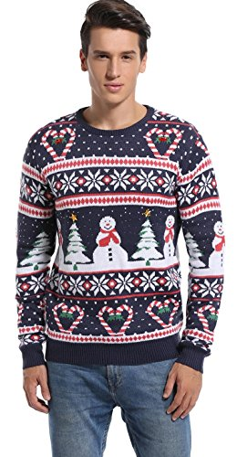 *daisysboutique* Men's Christmas Holiday Snowman and Tree Ugly Sweater Cute Pullover (Love Canes, Small)]()