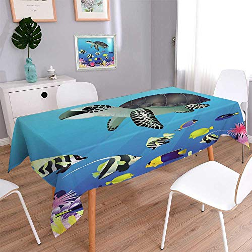 (PINAFORE HOME Rectangular Polyester de Fond la Vie de la mer Natural Rectangular Table Cloth for Indoor and Outdoor Use/Rectangle, 60 x 104)