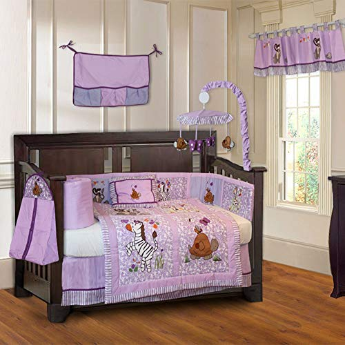 10 Piece Purple Pink Jungle Animals Baby Crib Bedding Set with Musical Mobile Zebra Turtle Floral Striped Crib Bedding For Girls Boys Nursery Bed Set Jungle Inspired Blanket Quilt Skirt & More, Cotton