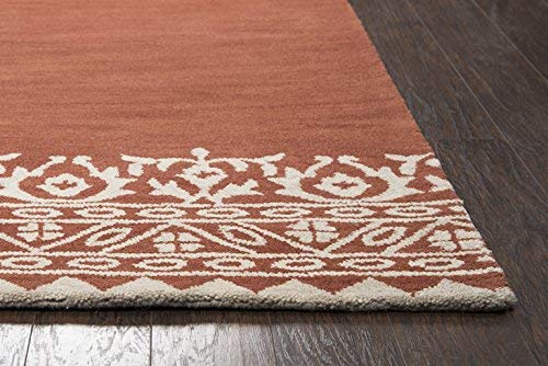 Rizzy Home Marianna Fields Collection Wool Area Rug, 5 x 8 , Rust Cream Ornamental