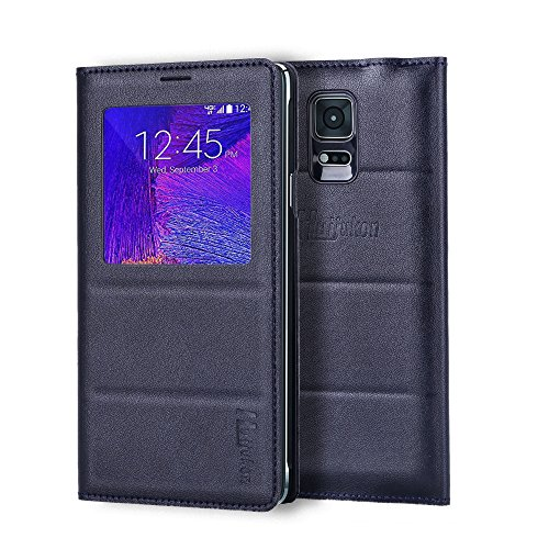 Galaxy Note 4 Case, Galaxy Note 4 S View Case, Huijukon Premium Leather S-View Flip Cover Folio Case[Clear View Window] for Samsung Galaxy Note 4 (Black)