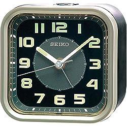 Seiko Alarm Clock, Analogue, Black, QHE128T