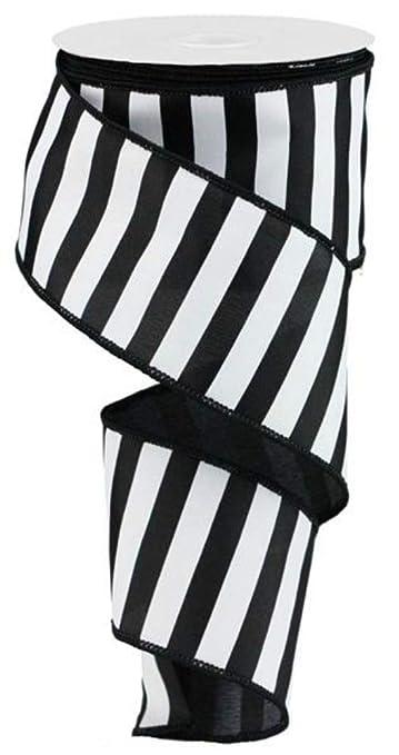 "4224199d8ce18 2.5"" Horizontal Black & White Stripe Ribbon (10 Yards) - Expressions  Wired Edge"
