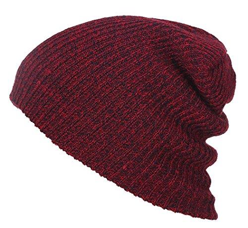 Veenajo Slouchy Winter Hats Knitted Comfort Daily Beanie Caps Soft Warm Ski Hat (Burgundy) (Burgundy Felt Bonnet)