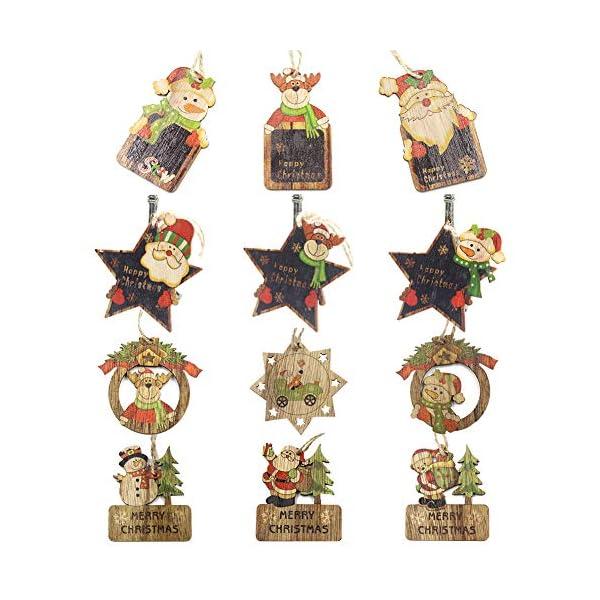 Set di decorazioni per alberi di Natale,12 pezzi in legno carino ornamenti per lavagna con pendente pendente con corde,3 pollici Modello di pupazzo di neve retrò di Babbo Natale per la decorazione 1 spesavip