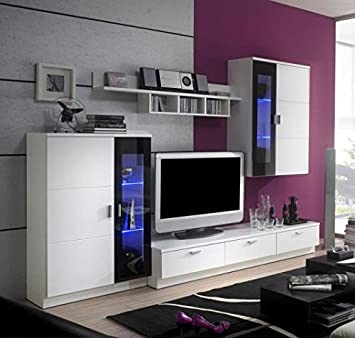 Limbo Wohnwand Modell 945, Weiss/schwarz