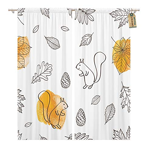 Emvency Window Curtains 2 Panels Rod Pocket Drapes Satin Polyester Blend Orange Ash Autumn Leaves and Squirrels Red Aspen Living Bedroom Drapes Set 104 x 84 Inches ()