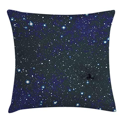 Ambesonne Night Throw Pillow Cushion Cover, Composition with Dots Night Sky Theme Abstract Style Arrangement Cosmos Concept, Decorative Square Accent Pillow Case, 18