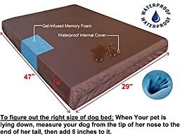 Dogbed4less Extra Large Orthopedic Gel Infused Memory Foam Dog Bed, Waterproof Liner with Durable Canvas Cover, 47X29X4 Inch, Black