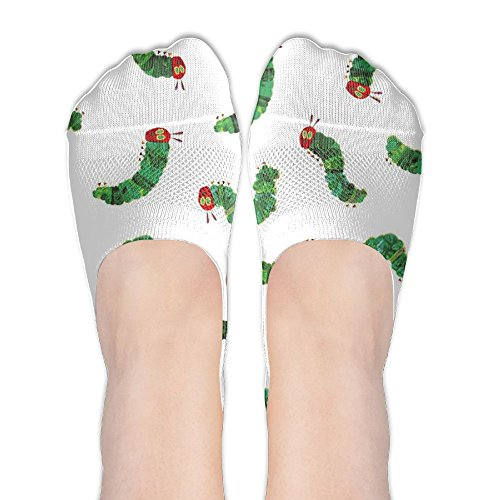 Women Very Hungry Caterpillar Cotton Thin Hidden No Show Casual Liner Athletic Running Socks Non Slip Flat Boat Line