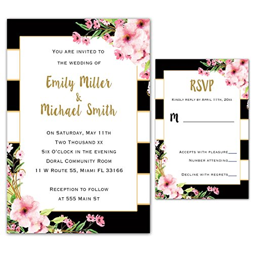 Stripes Invitation Kit (100 Wedding Invitations Gold Black Pink Floral Design + Envelopes + Response Cards Set)