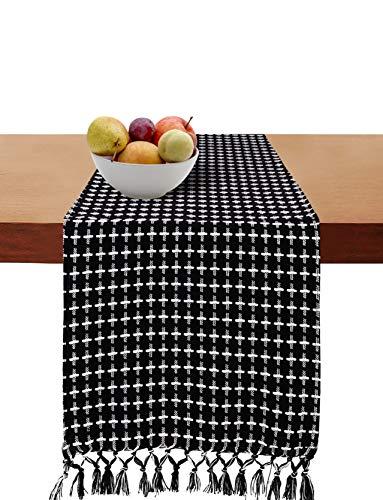 Cotton Clinic 2 Pack Table Runners Farmhouse 108 Inches Classic Woven Dobby, 14x108 Wedding Cotton Table Runners Fringes, Rustic Bridal Shower Decor Dining Table Runners Black White (Black Table Runner 48)