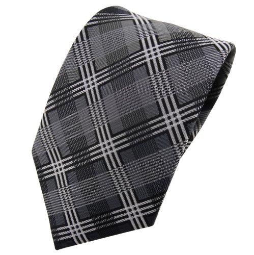 TigerTie Designer cravate argent anthracite gris noir à carreaux - Tie