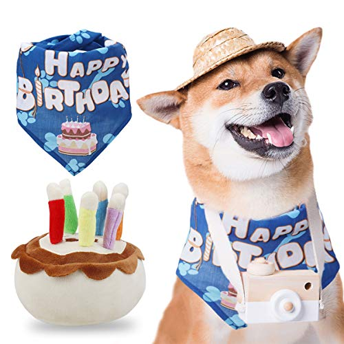 Dog Birthday Bandana and Squeaky Cake Toys Plush for Dog Birthday Party Supplies