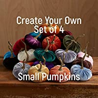 Small Velvet Pumpkins Create Your Own Set of 4, Handmade Fall Decoration, Modern Rustic Wedding Centerpiece Decor, Farmhouse Table Centerpiece, Halloween Thanksgiving Mantle Decor, Gift Set