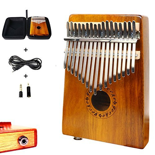 Gecko 17-Key EQ Professional Kalimba Set, Koa Tone Wood Electric Finger Thumb Piano Built-in Pickup With 6.35mm Audio Interface and Kalimba Case ()
